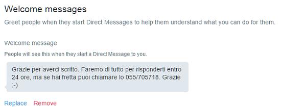 Twitter hotel: esempio di Welcome Message Twitter