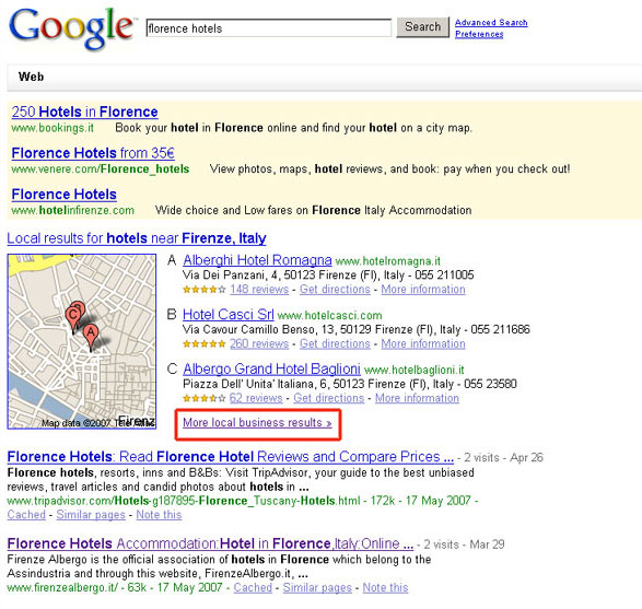 google universal search florence hotels